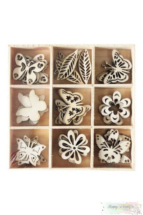 Чипборд деревянный Бабочки и цветочки