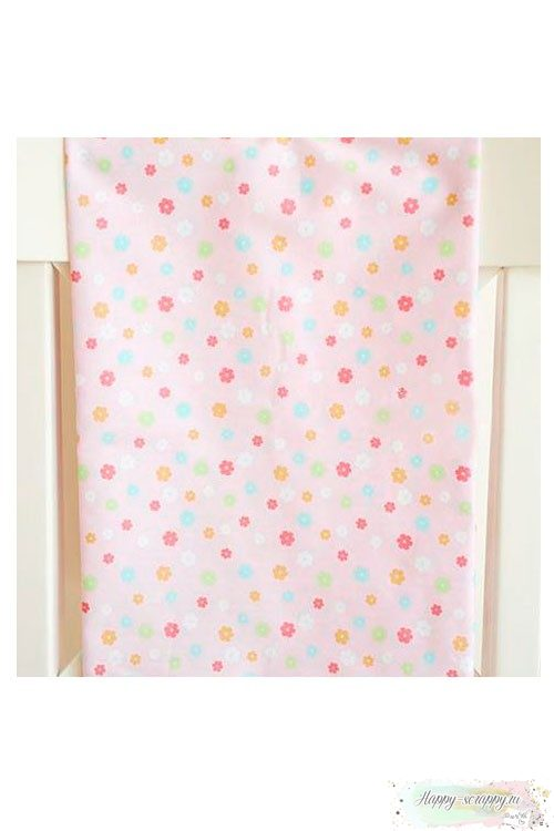 Ткань Разноцветные цветочки на светло-розовом