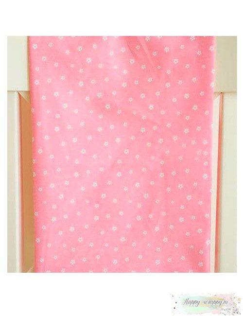 Ткань Белые цветочки на розовом