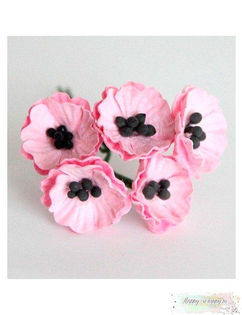Маки малые розовые 2 см (1 шт)