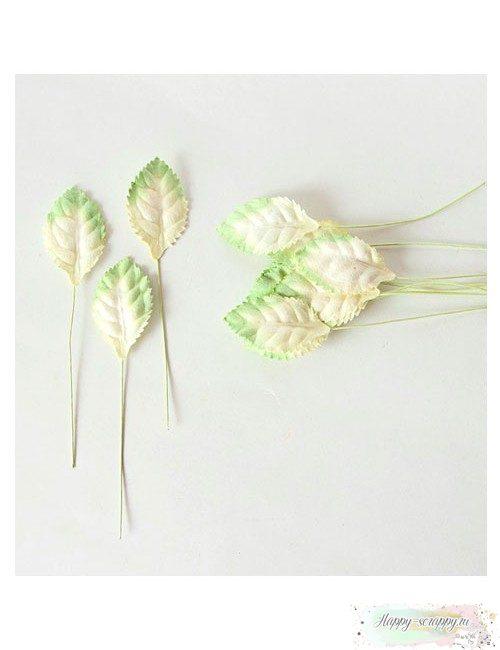 Листочки бумажные бело-зеленые