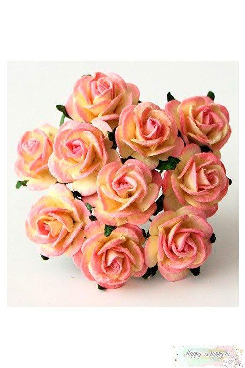 Розы розовый-желтый