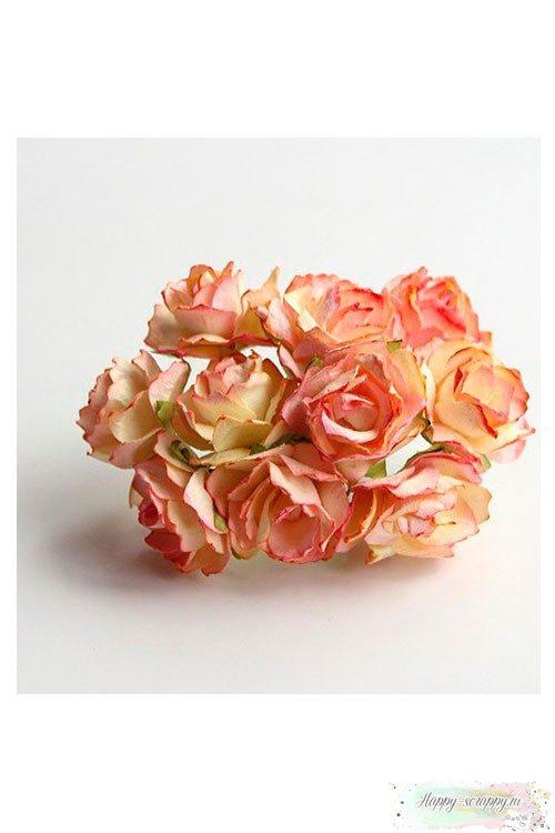 Кудрявые розы желто-розовые
