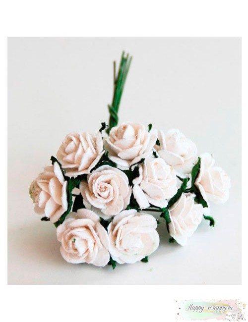 Розы мини 1 см — белые (5 шт)