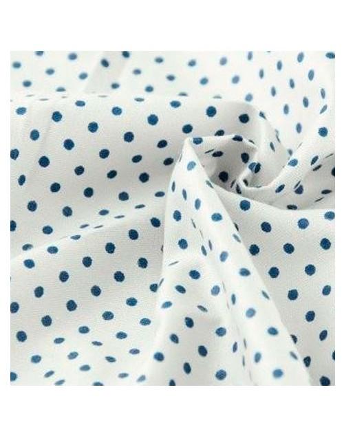Ткань Горошек синий на светло-сером