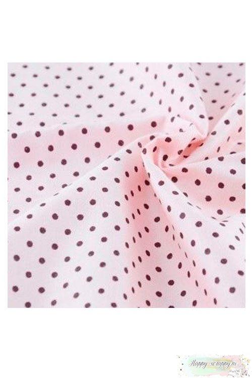 Ткань Горошек розовый на светло-розовом