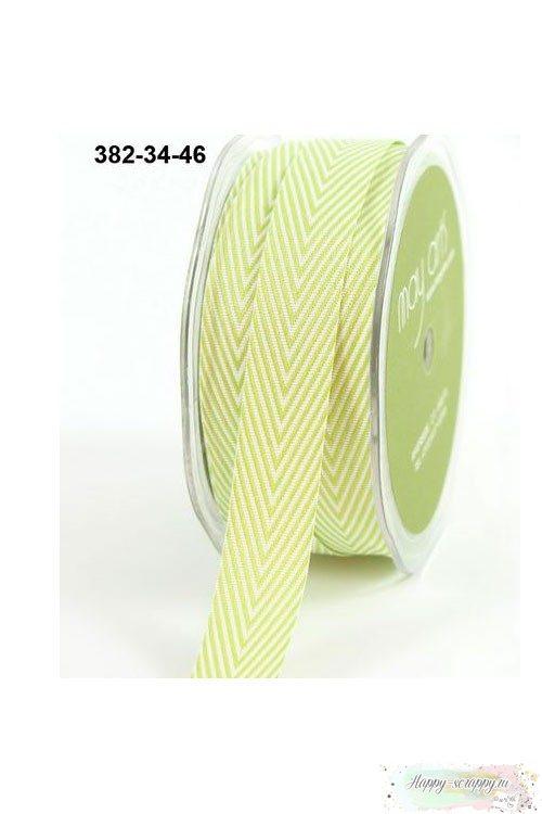 Лента шеврон светло-зеленая - 2 см - 90 см