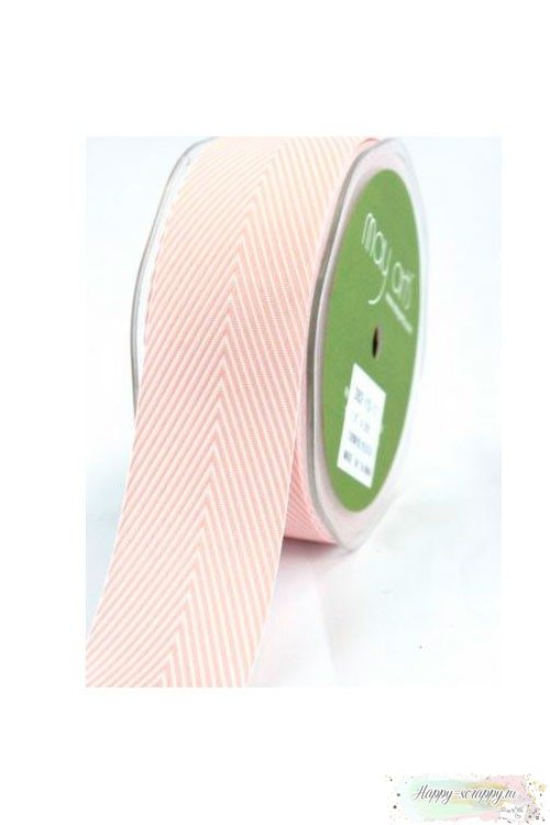Лента шеврон светло-розовая - 3,7 см - 90 см