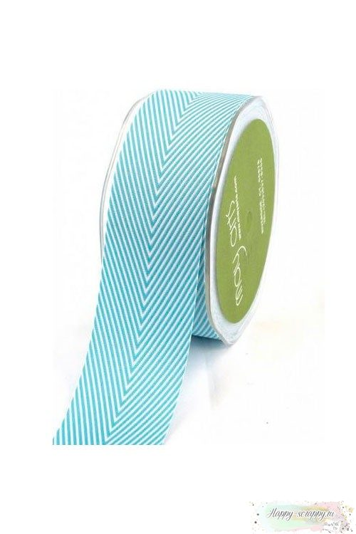 Лента шеврон - ярко - голубая - 3,7 см - 90 см