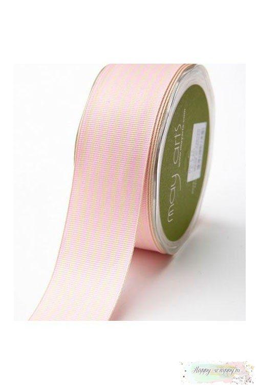 Лента шеврон беж-розовый - 3,7 см - 1 ярд