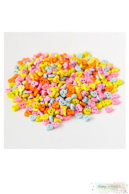 Пуговки микро-сердечко микс 0,6 см