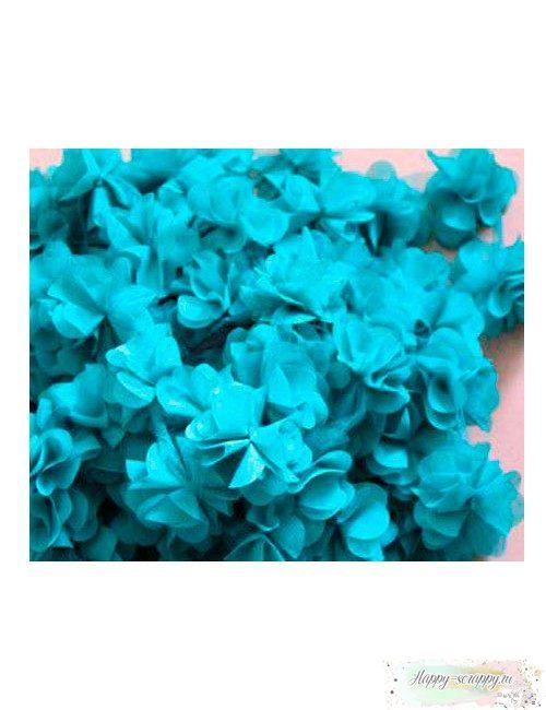 Цветок из шифона бирюза 6 см
