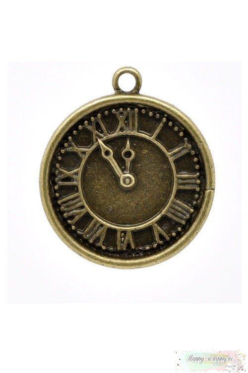 Металлическая подвеска Часы римские бронзовые