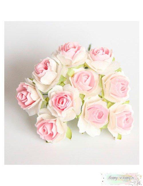 Кудрявые розы 2 см - розовый-белый