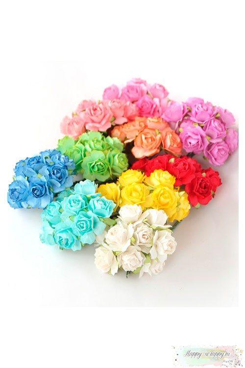 Кудрявые розы 2 см - яркий микс