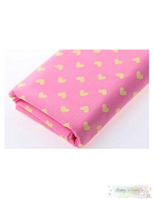 Ткань Сердечки желтые на розовом