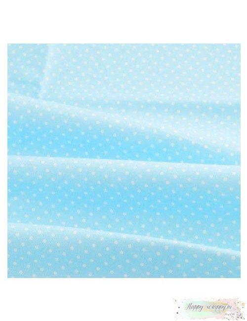Ткань Горошек белый на голубом