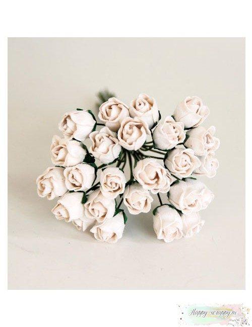 Бутоны роз средние полураскрытые — белые