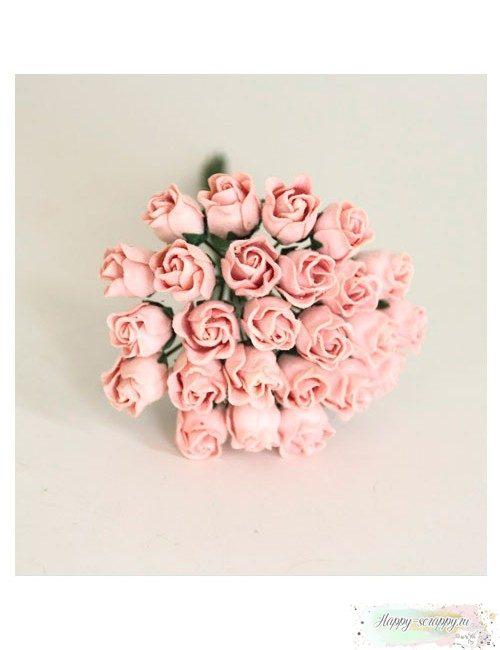 Бутоны роз средние полураскрытые — розово-персиковые