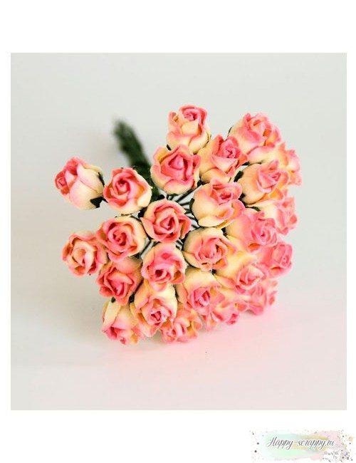 Бутоны роз средние полураскрытые — розово-желтые