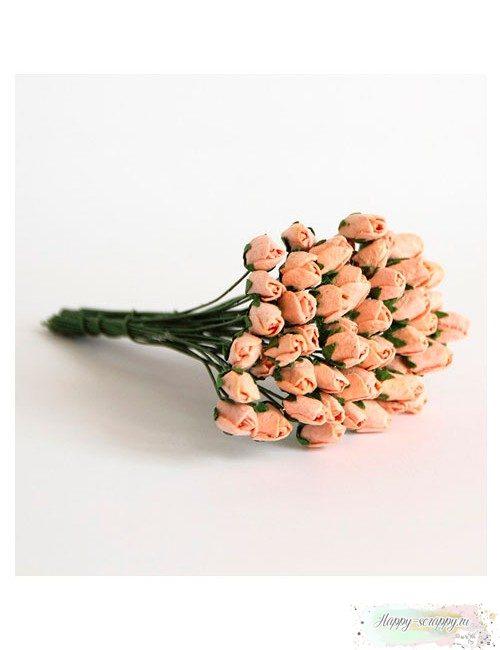 Бутоны роз средние закрытые — персиковые