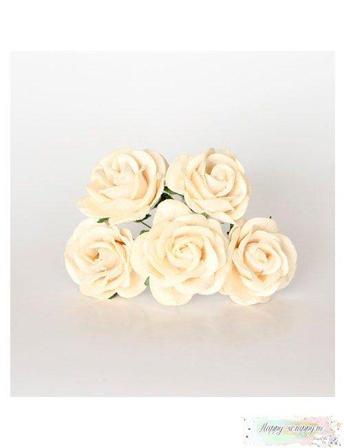Роза 4 см — молочная