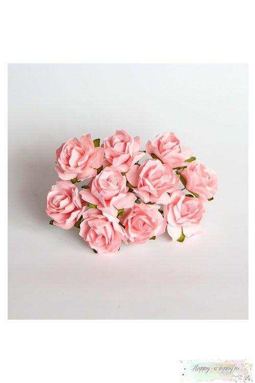 Кудрявая роза 3 см — розово-персиковая