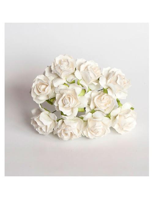 Кудрявая роза 3 см — белая