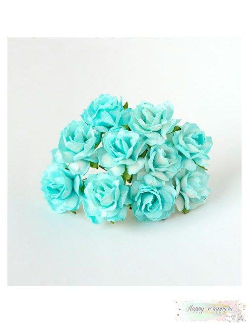 Кудрявая роза 3 см — бирюзовая