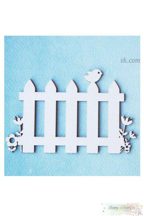 Чипборд из картона Забор с птичкой