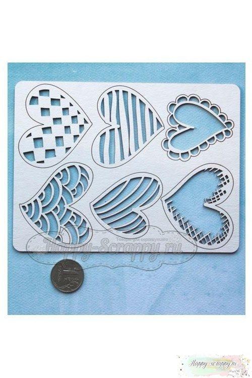 Набор чипборда из картона Сердечки №1