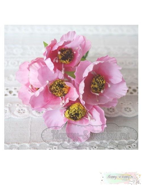 Камелия тканевая 5 см - розовая (1 шт)