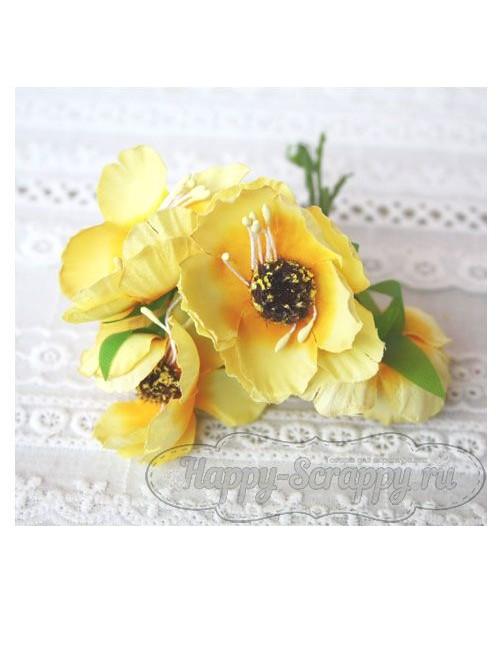 Камелия тканевая 5 см - желтая (1 шт)