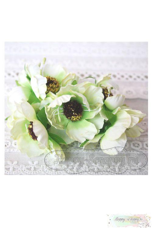 Камелия тканевая 5 см - зеленая (1 шт)