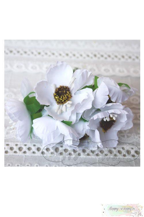 Камелия тканевая 5 см - белая (1 шт)