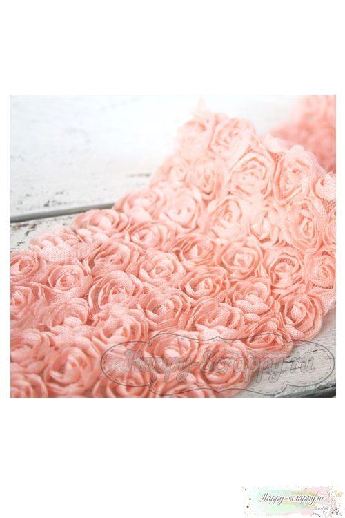 Розы на сетке - персиковые (10 см)