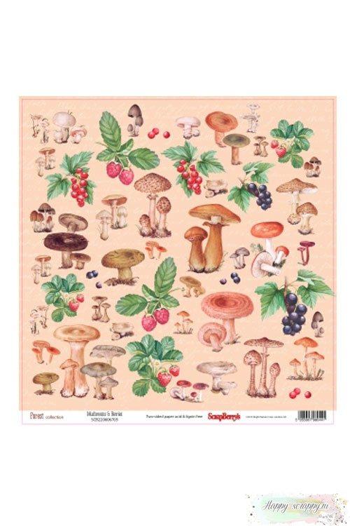 Бумага для скрапбукинга В лесу - Грибы и ягоды
