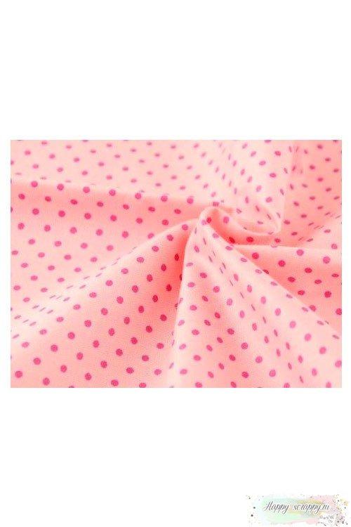 Ткань Горошек темно-розовый на розовом