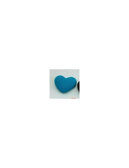 Пуговка тканевая сердечко - бирюзовая