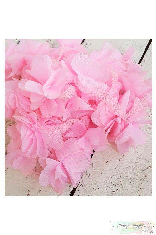 Цветок из шифона розовый 6 см