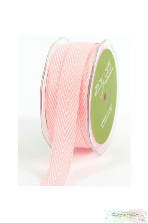 Лента шеврон средняя - светло-розовая (90 см)
