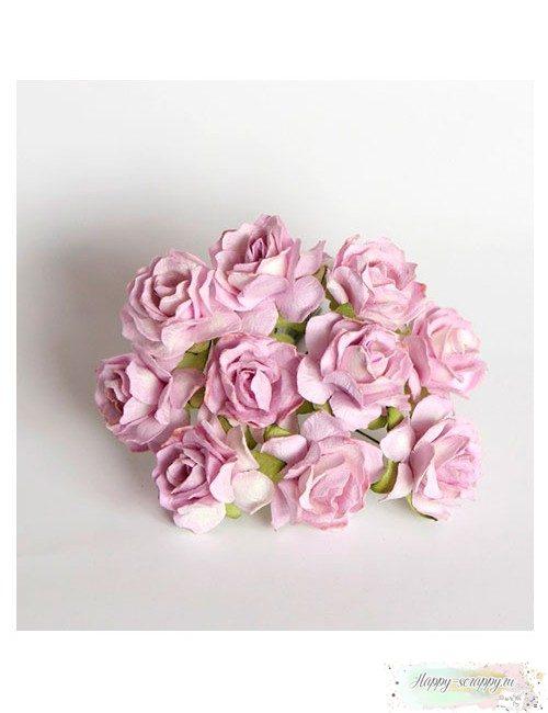Кудрявая роза 3 см - св.сиреневая(1 шт)