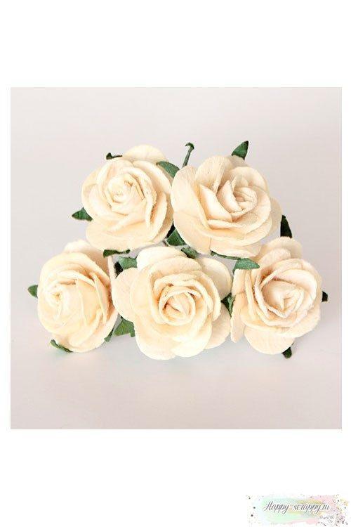 Роза 2,5 см - молочная (1 шт)