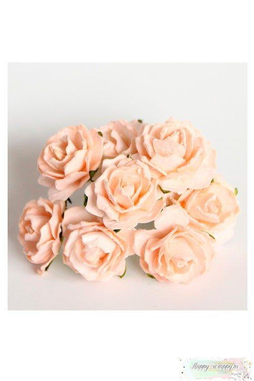 Кудрявые розы 2 см - персиковые (5 шт)