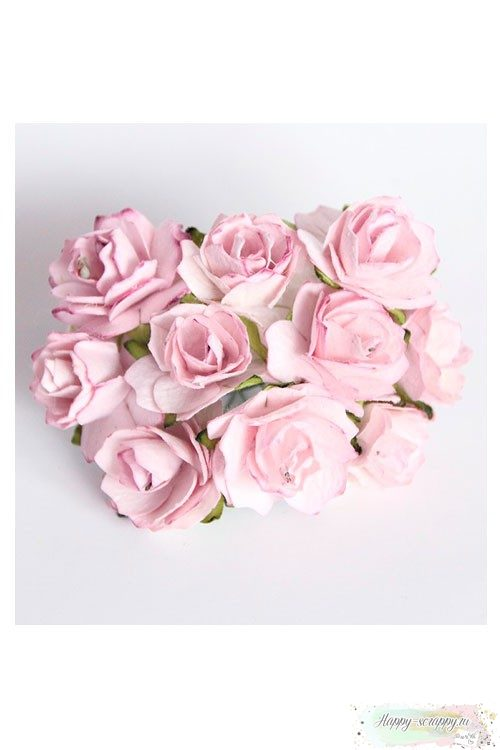 Кудрявые розы 2 см - св.сиреневые (5 шт)