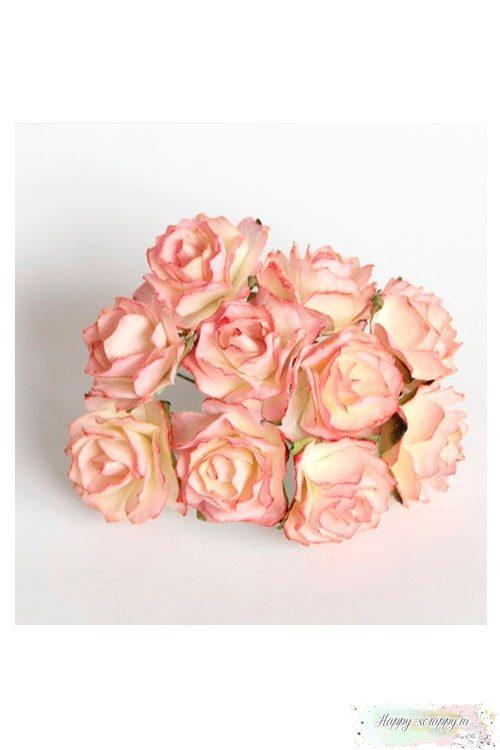 Кудрявые розы 2 см - желто-розовые (5 шт)