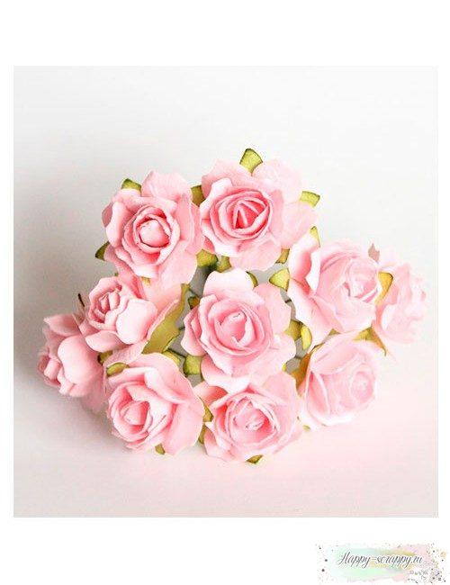 Кудрявые розы 2 см - розовоперсиковые (5 шт)