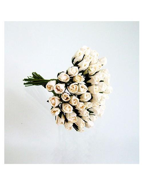 Микро бутоны роз - белые (10 шт)