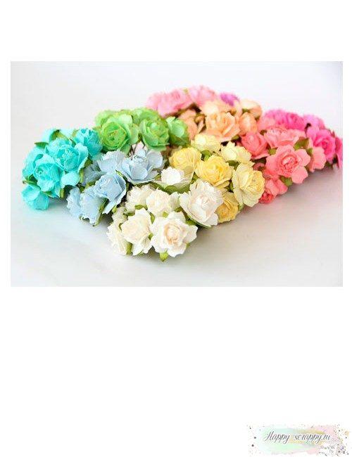 Кудрявые розы 2 см - пастельный микс (10 шт)