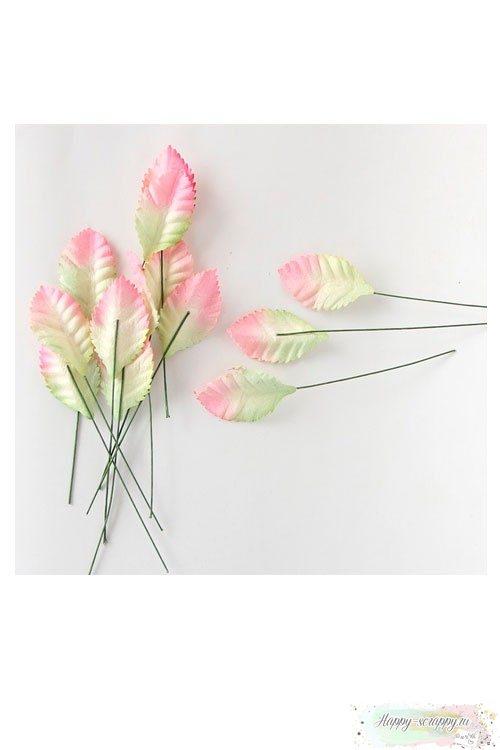 Листочки бумажные зелено-розовые малые (10 шт)